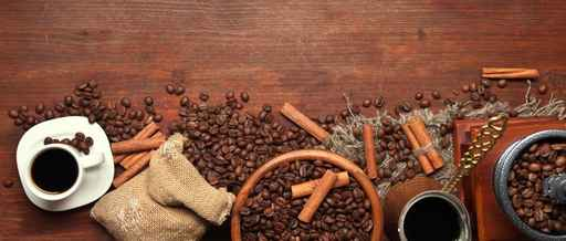 Coffee beans, metal turk and coffee mill