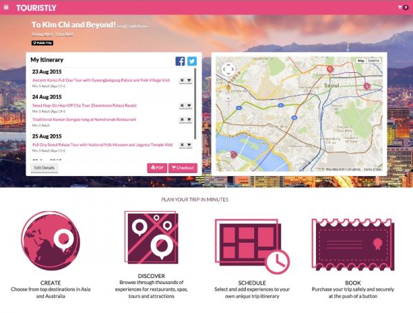 Create, Discover, Schedule and Book your itinerary in minutes using Touristly's trip planner (PRNewsFoto/Touristly)