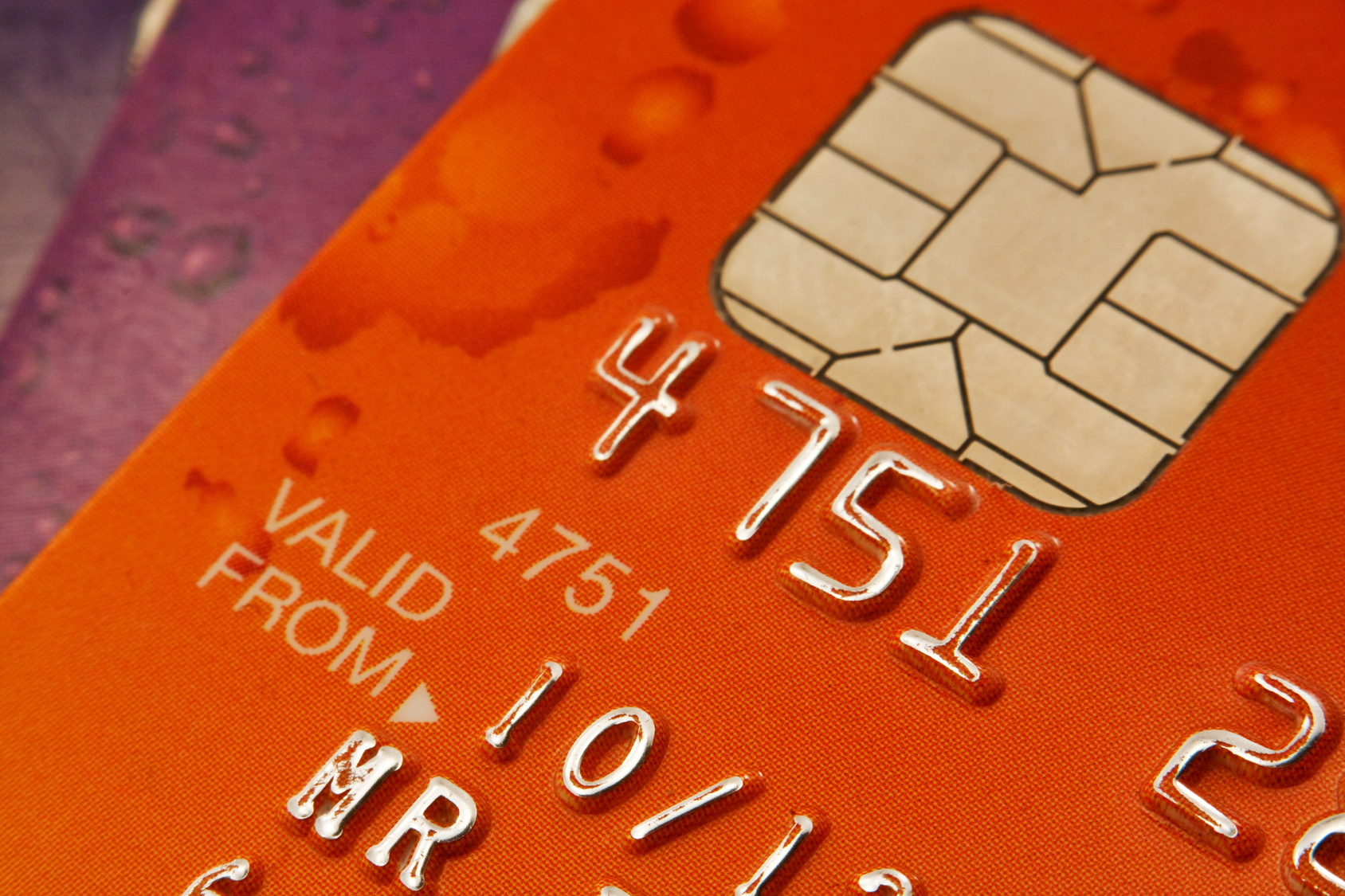 Plastic Bank cards with focus on the Chip and pin security device