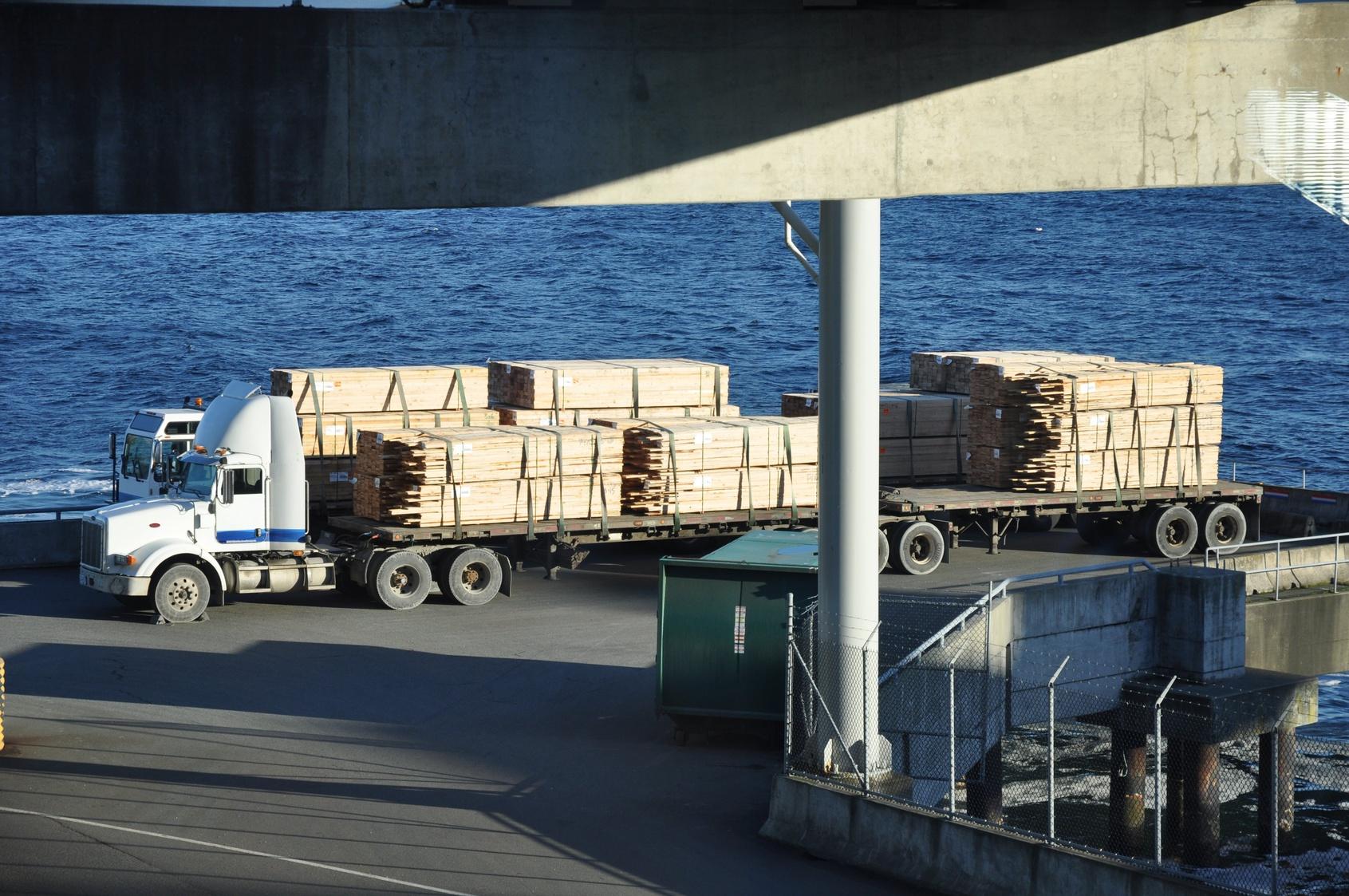 Semi Trucks Waiting to Board Ferry