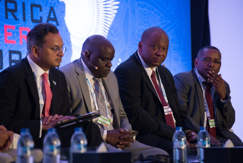 Speakers participating in a panel discussion at the Africa Energy Forum 2015 (PRNewsFoto/EnergyNet)