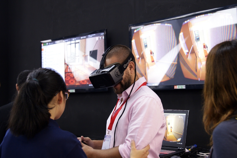 "At CIFF (Guangzhou) 2016, Landbond released its ""fitting room"" for furniture which allows customers to ""try on"" the furniture in their own home using the VR headset. (PRNewsFoto/China International Furniture...)"