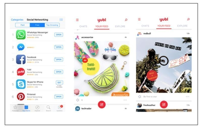 Yubl reaches number 4 in the app store, with Accessorize and Red Bull already on board. (PRNewsFoto/Yubl)